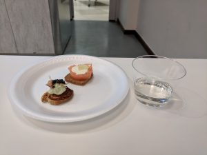 """""""Controversial"""" canape and a sip of sake"""