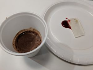 Palate cleanser: Prosecco jelly with hot chocolate