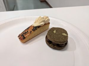Japanese desserts: Miso financier and hojicha sablé sandwiched with Amedei Gianduja cream