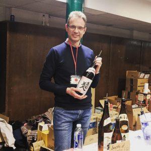 Serving sake at the Japanese Sake Festival in London in April 2018
