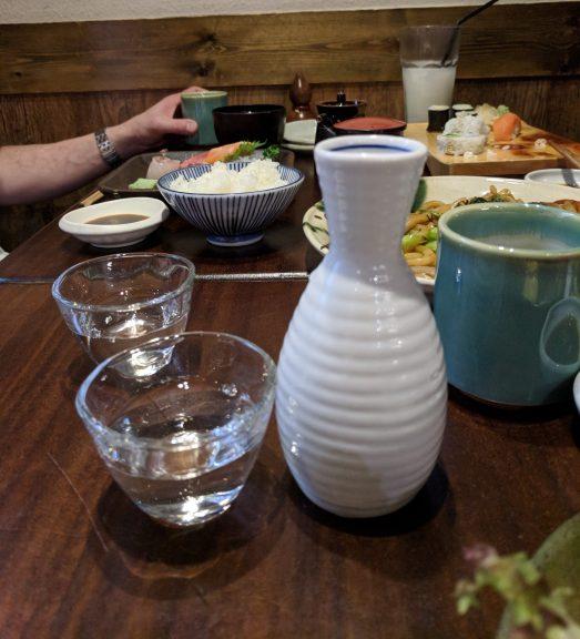 Sake, tokkuri and a glass