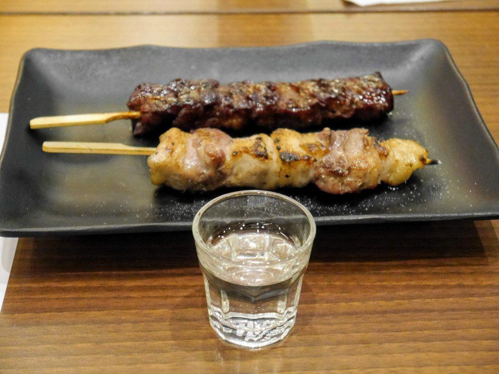 Yakitori and Keigetsu 45 Gin-no-Yume Junmai Daiginjo